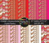 Digital Papers Valentine's Day Chevron Burlap {Commercial