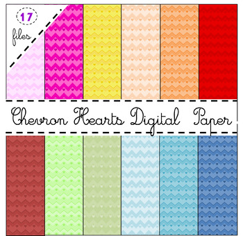 Valentine's Day Chevron Heart High-Quality Digital Papers (.png files)