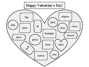 Valentine's Day Chocolate Box Articulation Worksheets