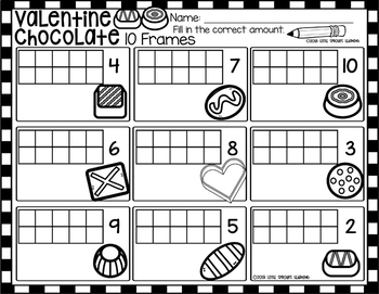 Valentine's Day Chocolates Ten Frames (includes worksheet)