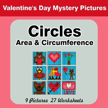 Valentine's Day: Circles Area & Circumference - Math Mystery Pictures