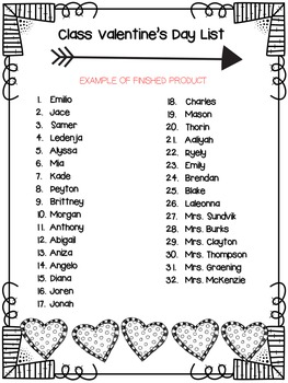 Valentine's Day Class List Creator