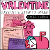 Editable Valentine's Day Class List and Family Letter