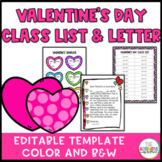 Valentine's Day Class List and Letter
