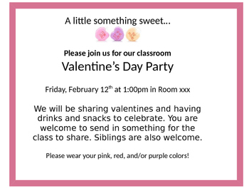 Valentine's Day Class Party Invitation