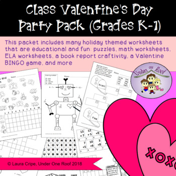 Valentine's Day Class Party Pack for Kindergarten and First Grade