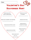 Valentine's Day Classroom Scavenger Hunt Game