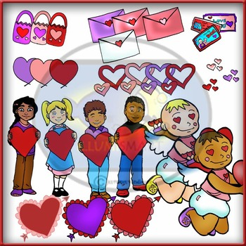 Valentine's Day Clip-Art! 12  pieces B/W and 27 COLOR! 39 Pieces!