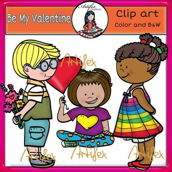 Valentine's Day Clip Art-Be My Valentine- color and B&W