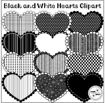 Valentine's Day Clip Art Black and White Hearts