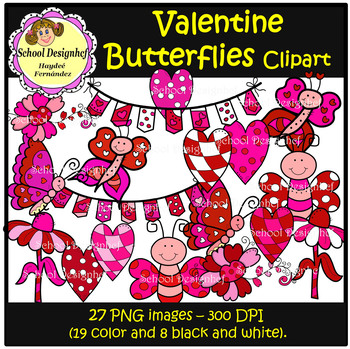 Valentine's Day Clip Art - Butterflies & Hearts (School Design)