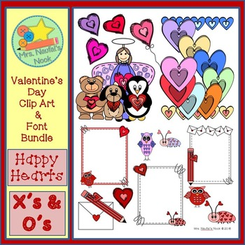 Valentine's Day Clip Art and Font Bundle