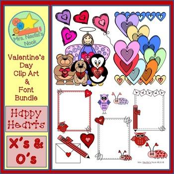 Valentine's Day Clip Art and Font Bundle