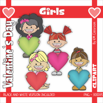 Valentine's Day Clip Art Hearts in Rainbow Colors and Girls with Hearts