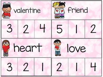 Valentine's Day- Clip Cards- Syllables, Sounds, Addition, and Subraction