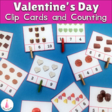 Valentine's Day Counting Candies Clipcards Activity and Matching Cards