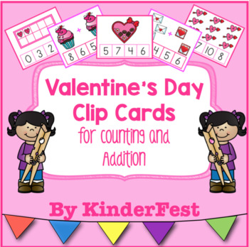 Valentine's Day Clip Cards for Counting and Addition