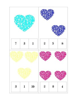 Valentine's Day Clip and Count Cards
