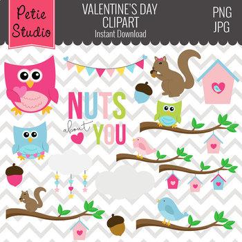 Valentine's Day Clipart // Squirrel Clipart // Owl Clipart - Animals110