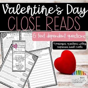 Valentine's Day Close Reading Passages & Text Dependent Questions