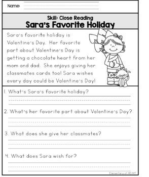 Close Reading Comprehension Printables- Valentine's Day