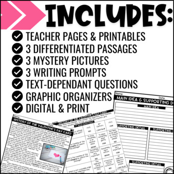 Valentine's Day Close Reading Comprehension w/ Mystery Picture Activity
