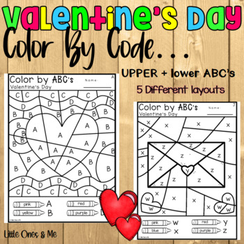 Valentine's Day Color By Code ABC's