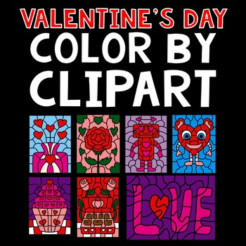 Valentine's Day Color By Code Clipart