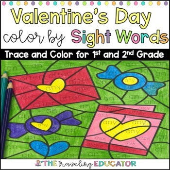 Valentine's Day Color By Code First and Second Grade Sight Word Worksheets