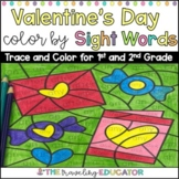 Valentine's Day Color By Sight Words for First and Second Grade