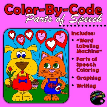 Valentine's Day: Color-By-Code Parts of Speech; Graphing; Writing