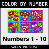 Valentine's Day Color By Number 1 - 10