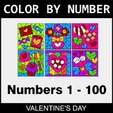 Valentine's Day Color By Number 1 - 100