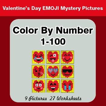 Valentine S Day Color By Number 1 100 Valentine S Day Emoji