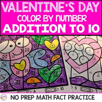 Valentine's Day Color By Number- Addition