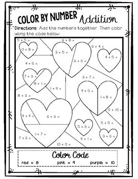 valentine 39 s day color by number differentiated addition freebie. Black Bedroom Furniture Sets. Home Design Ideas