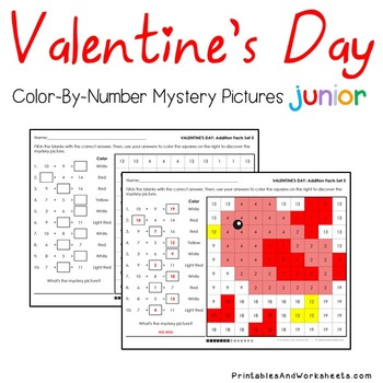 Valentine's Day Addition Sheets, Valentines Addition Color-By-Number (K-2)