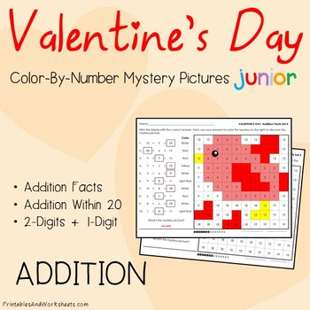 Valentine's Day Addition Sheets, Valentines Addition Color