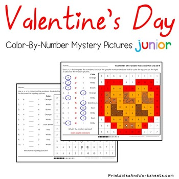 Valentine's Day Color-By-Number Counting/Greater Than/Less Than (K-2)