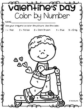 Valentine's Day Color By Number Pages