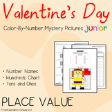 Color-By-Number Place Value, Valentine's Day Place Value Worksheets (K-2)