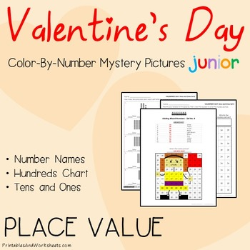 Color-By-Number Place Value, Valentine's Day Place Value W