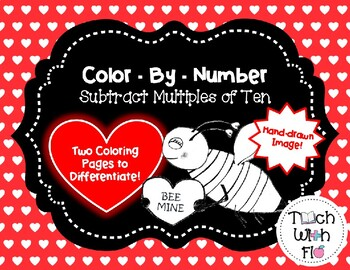 Subtract Multiples of Ten --- Valentine's Day Color-By-Number