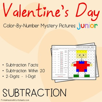 Valentine's Day Color-By-Number: Subtraction (K-2)