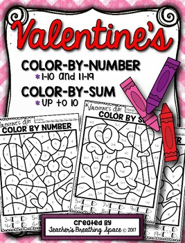 Valentine's Day Color-by-Number 1-10 & 11-19 and Color-by-Sum (up to 10)