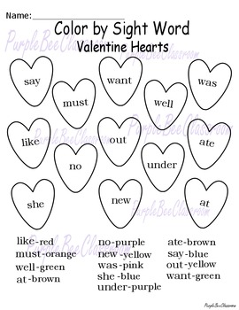 Valentine's Day Color By Sight Words
