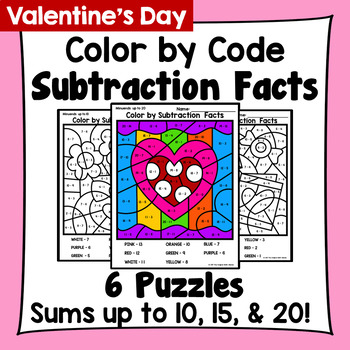 Valentine's Day Color By Subtraction Facts: Minuends up to 10, 15, & 20