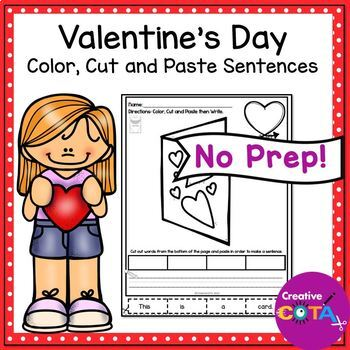 Valentine's Day Color Cut and Paste Sentence Writing