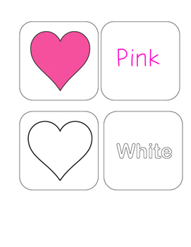 Valentine's Day - Color Word and Heart - Matching and Memory Game - 11 pairs