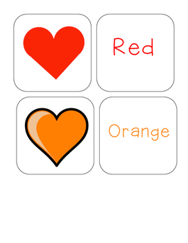 Valentine's Day - Color Word and Heart - Matching and Memo